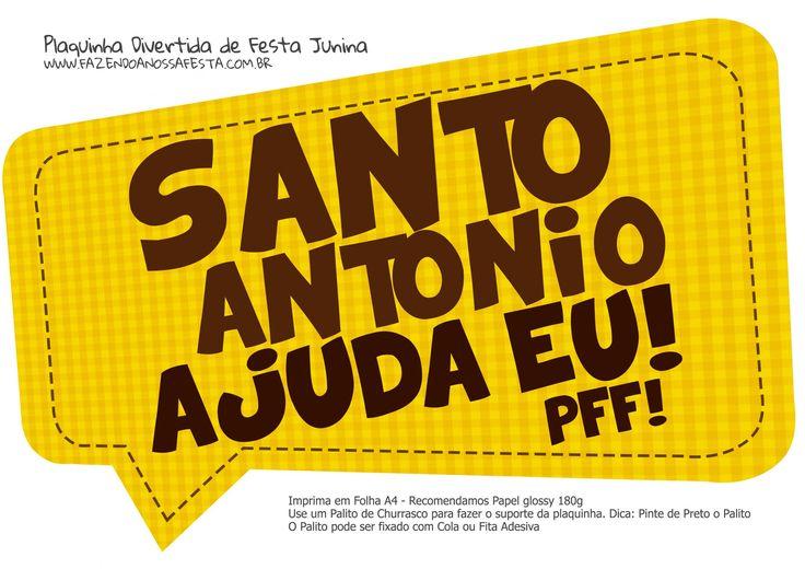 Plaquinha Divertida Festa Junina Santo Antonio