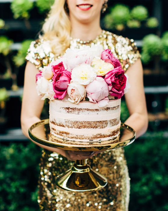 Naked wedding cake with peonies by Creative Hunger. Picture by Stewart Leishman