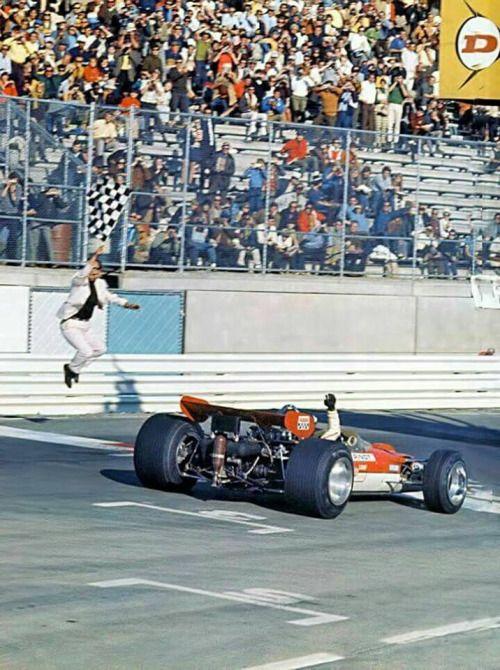Jochen Rindt (Lotus-Ford 49B) vainqueur du Grand Prix des USA -...