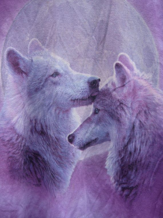 Two wolves in love under the moon purple tiedye by Orphanclothes, $16.00