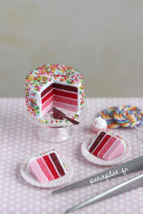 Miniature Cake - Shades of Pink by PetitPlat.deviantart.com on @deviantART
