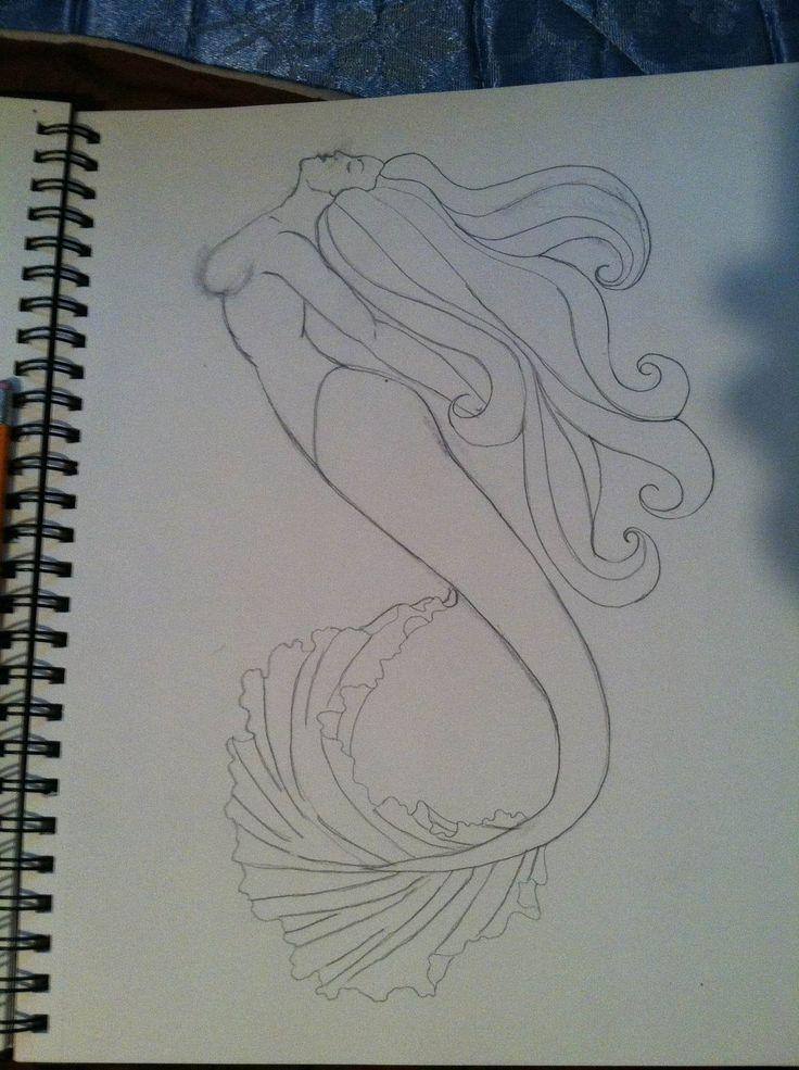 Drawing The Line Tattoos Tara Mccabe : Mermaid tattoo line art by risarjm on deviantart