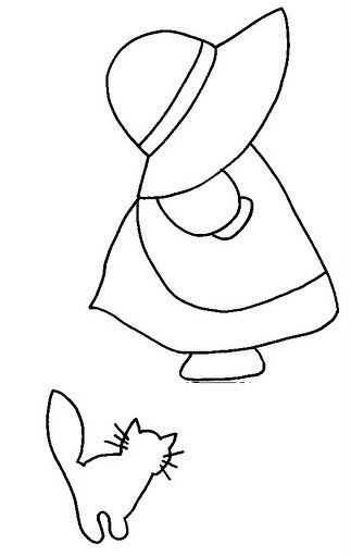 Sunbonnet Sue patterns. No cat, add wings and heart. Longer arm and shorter hand