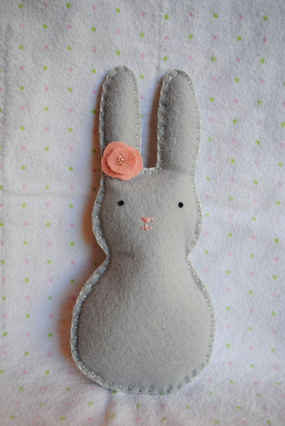 Sweet Little Mini Bunnypocket pal gray peach by memeandsaysay, $12.00