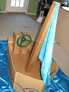 Cardboard box boat. Create a whole theme with life jackets, a handheld net, fishing poles... what else?