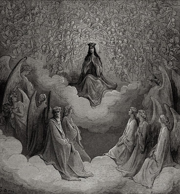 "age-of-awakening: "" magictransistor: "" Gustave Doré, Paradiso: Dante Alighieri's Divine Comedy, Canto XXI (Blessed Beatrice in the Seventh Circle of Heaven), Parigi: Hachette, c. 1868. "" When Dante..."