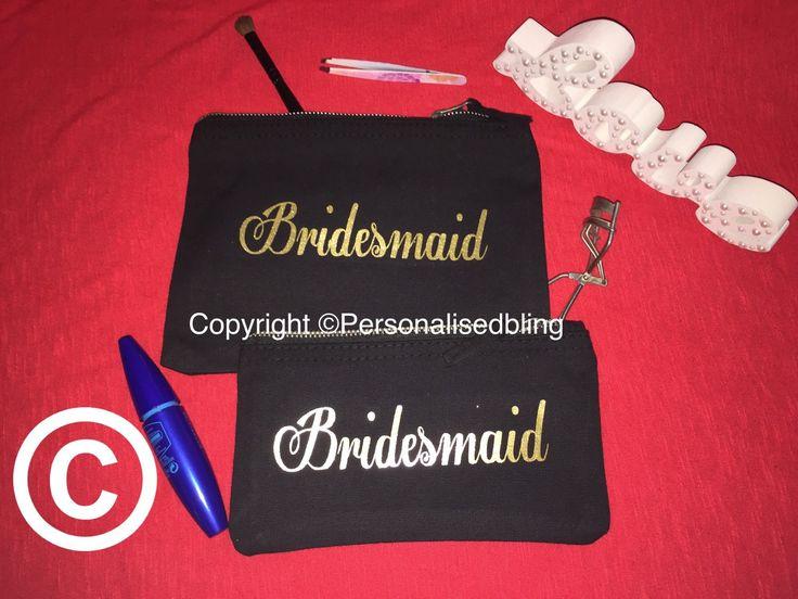 cosmetic  bridesmaid make up bridesmaid bag canvas zip personalised black pink make-up bag wedding gift present bride bag toiletry bag purse by personaliseddiamante on Etsy