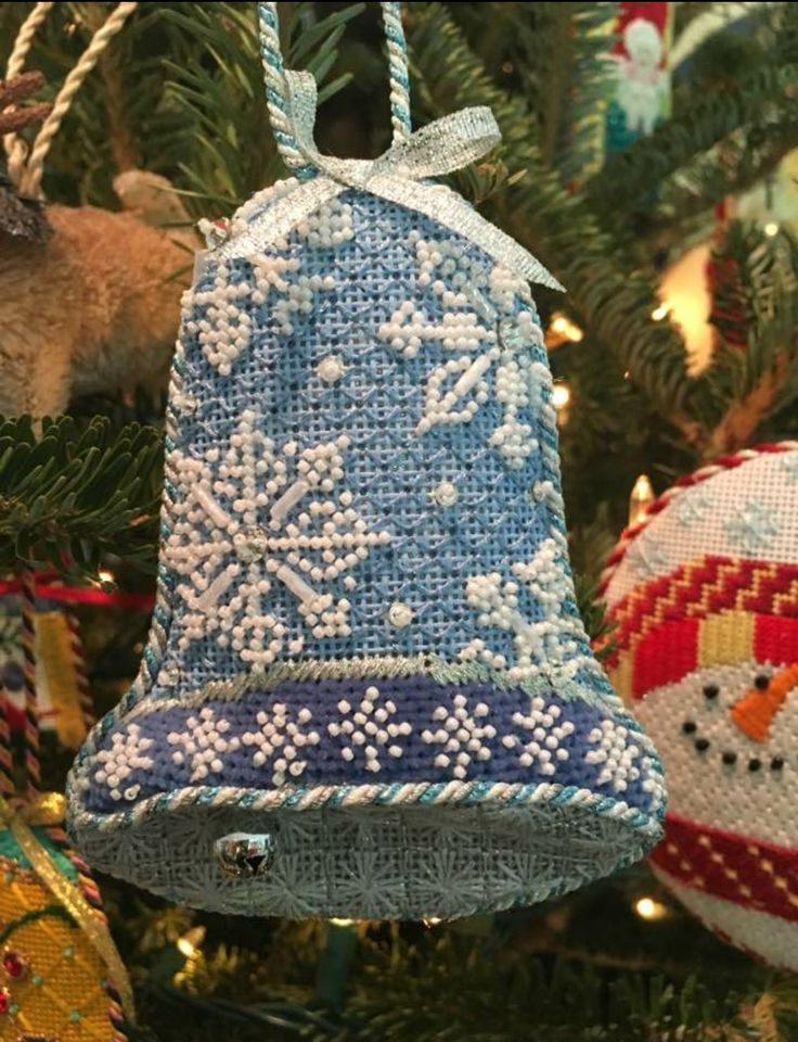 needlepoint bell ornament, Labors of Love canvas