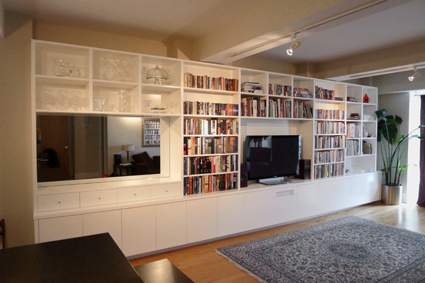 Custom white lacquer media entertainment unit built in bookcases modern wallunit - Contemporary built in bookshelves ...