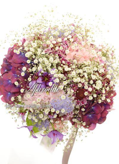 花嫁の手作りブーケ 「アジサイ×カスミソウ」