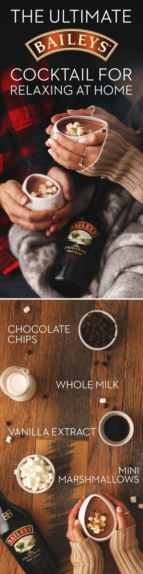 Treat yourself (and your guests!) with this Baileys Hot Chocolate recipe. It's not only delicious - it's also served in a soothing hug mug for added warmth and comfort! Wind down after a fun night by grabbing a blanket, hugging your mug, and topping it with marshmallows for an added treat to this winter cocktail. Serves 2: Prepare 2 cups of hot chocolate, add 3.5oz Baileys and top with mini marshmallows.