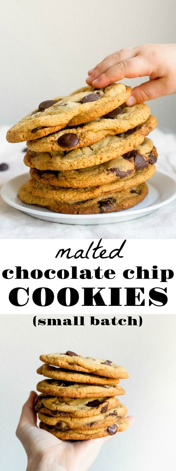 Malted Chocolate Chip Cookies Recipe via @dessertfortwo