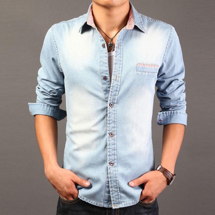 2015 High Quality Long Sleeve Denim Shirts Men Casual Shirt  Fashion Slim Mens Jeans Shirts Plus Size 3XL US Euopean Style 70off