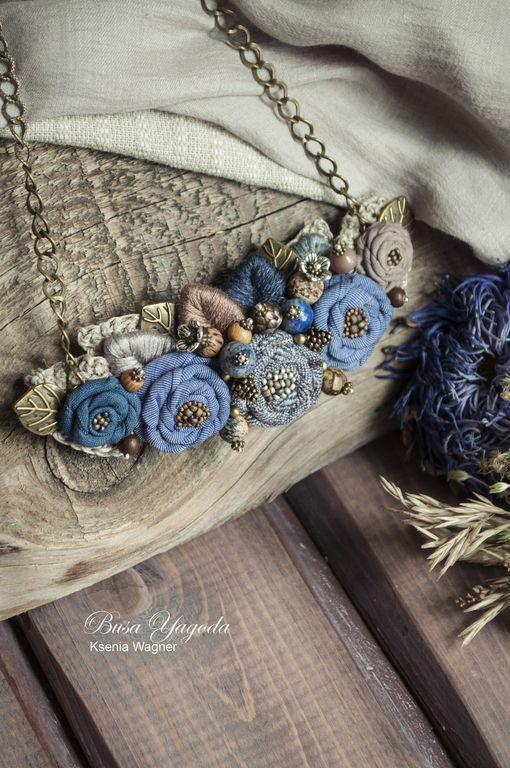 """Купить Колье """"Цикорий"""" - синий, ярко-синий, цикорий, колье с цветами, колье ручной работы:"""