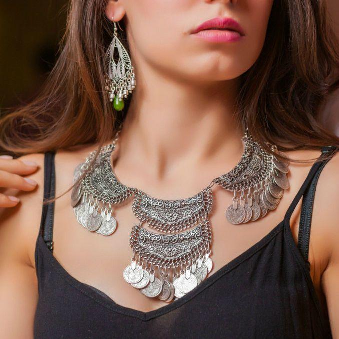 Collar Choker Antique Silver Large Boho Chunky Bohemian Statement Retro Necklace #Takimania #Choker