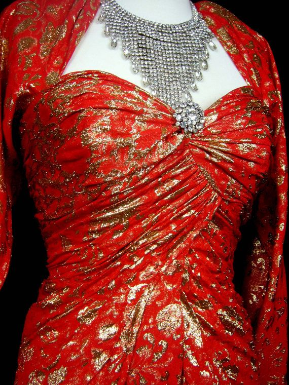 STRIKING GLAMOROUS French Couture 1990s Fine Red Flame Silk Torch Dress - Divine Plunge Wiggle Skirt Split To Waist Nude Mini Under Dress