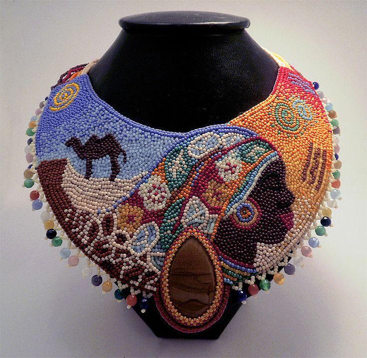Купить Колье Роза пустыни - колье, бисер, украшение, африка, африканские мотивы, разноцветный, васильева