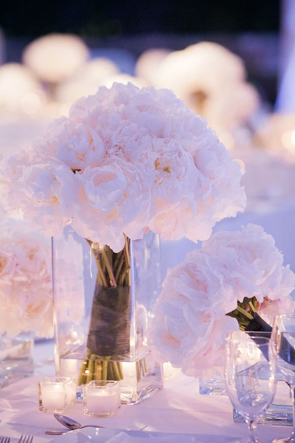 White peonies sparkling table setting
