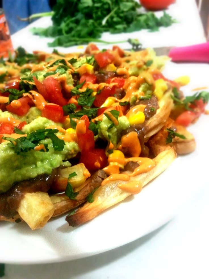 Papa Nachos with Simple Guacamole and Chipotle Dressing