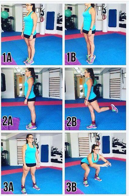Tres ejercicios para trabajar las piernas. El primer ejercicio trabajamos los gemelos, el segundo el bíceps femoral y el tercero cuadriceps