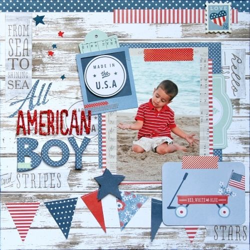 All American Boy scrapbook layout created by @Wendy Felts Felts Antenucci for @Pebbles Smith Smith Inc. #scrapbooking #patriotic #American