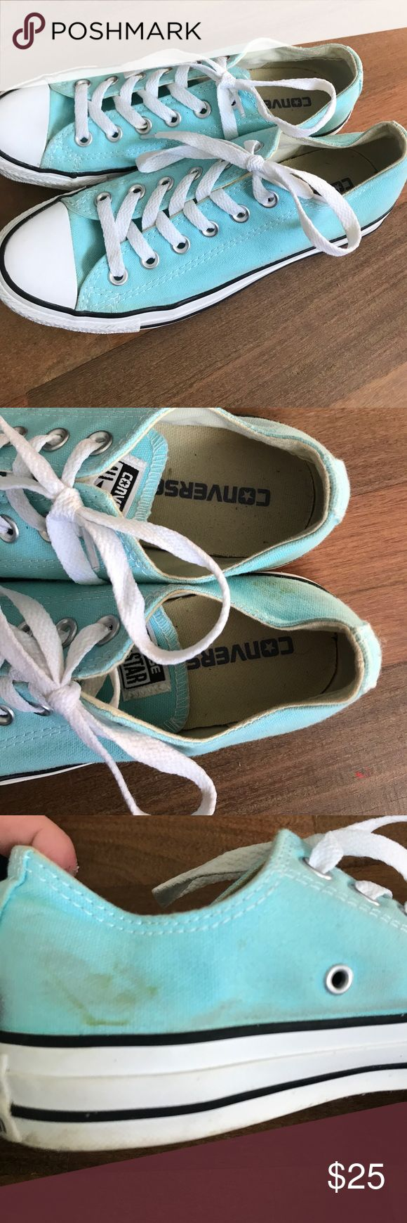 Tiffany blue converse Tiffany blue converse. Slight grass stain pictured. Very good condition Converse Shoes Sneakers