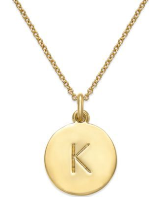 kate spade new york 12k Gold-Plated Initials Pendant Necklace | macys.com