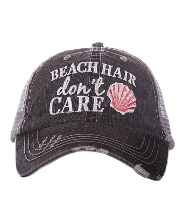 Take a look at this Gray & Coral 'Beach Hair Don't Care' Trucker Hat today!