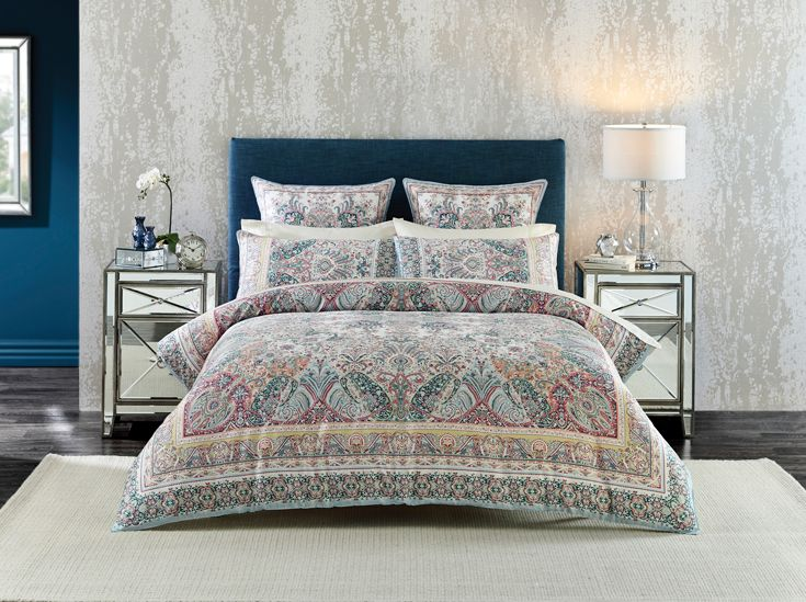 Retro-inspired and intricately patterned paisley in a chalky colour palette with subtle highlights | the perfect trans-seasonal style #bedroom #bedbathntable