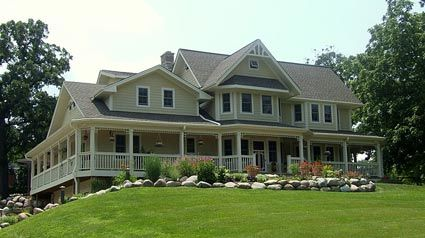 61 best farmhouse exteriors images on pinterest exterior for Wrap around porch cost