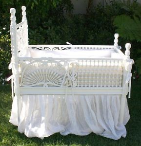 victorian baby cradle | Details about Victorian Baby Bed Cradle Bassinet Painted Ball & Stick