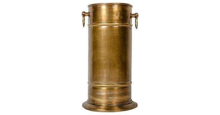 "Vintage European Brass Umbrella Stand. The Umbrella Stand Measure 19"" High X 8.5"" Diameter."