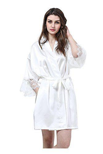 3d2fe24c17a3dc Joyplay Frauen Sexy Satin Morgenmantel Damen Kurz Nachtwäsche Pyjama  Bademantel Hohle Spitze Kimono Schlafanzug Weiß M