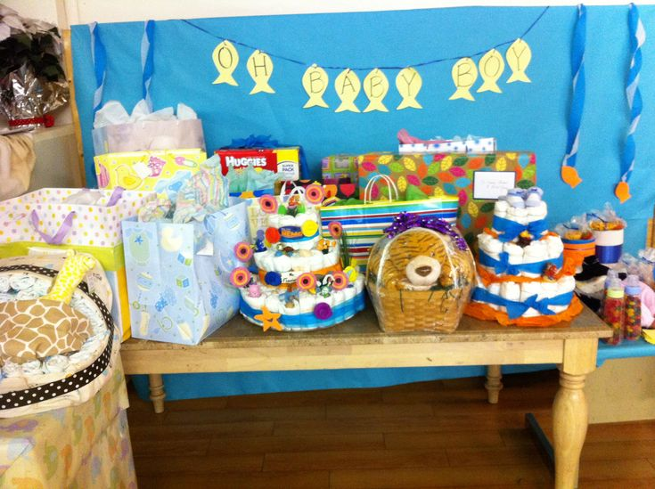 fish theme baby shower gift table baby shower ideas pinterest