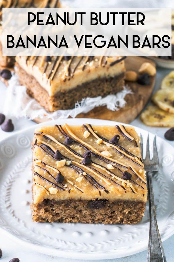 Peanut Butter Banana Vegan Cake Bars Recipe Peanut Butter Recipes Baking With Almond Flour Vegan Cake