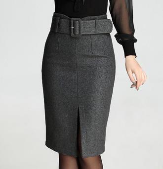 Осень весна мода формальные женщин высокой талией вина красный серый черный шерстяные юбка карандаш, Женский женщина зимние 5XL 4XL шерсть юбки купить на AliExpress