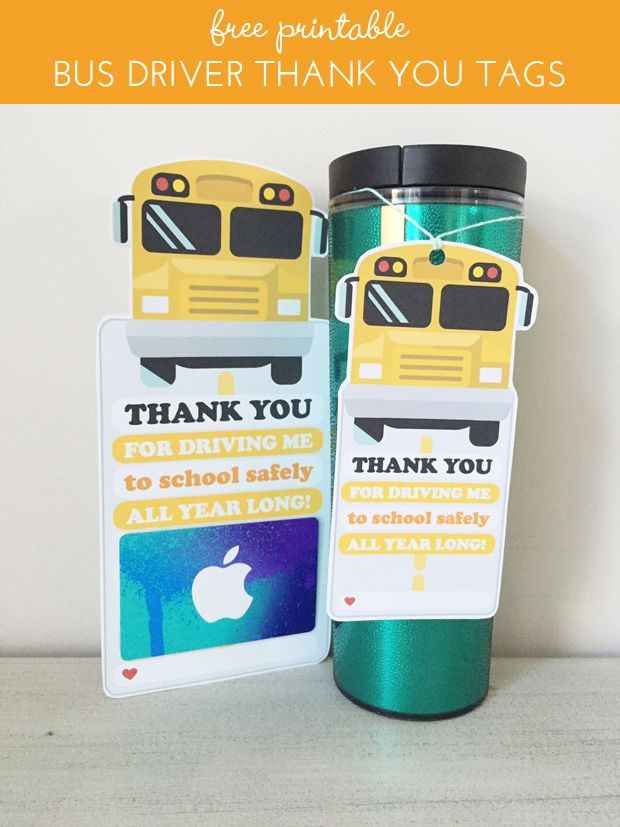 freebies: bus driver thank you gift tags.