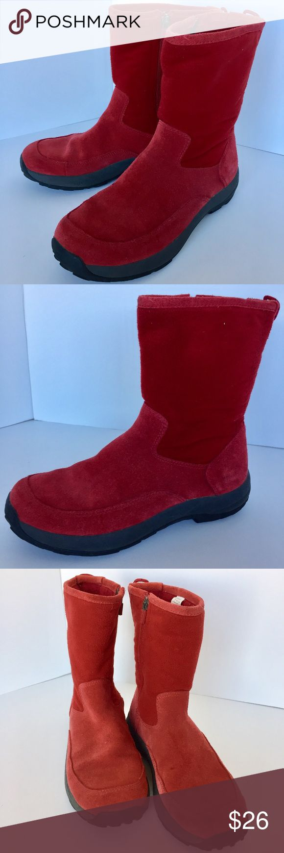 LL Bean Red Suede-Fleece Lined Boots Super cute and perfect for the cold! Fleece lining, side zipper and rubber soles. Pre worn in very good condition. Suede shows normal wear with very small spots (see photo). No Trades. TB1265. L.L. Bean Shoes Winter & Rain Boots