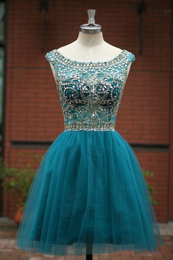Elegant Sleeveless Tulle Short Homecoming Dresses 2015 $155.00