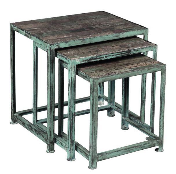 Tables Gigognes WALDO en acier et lames de bois de récupération palissandre et peinture vieillie et vernis