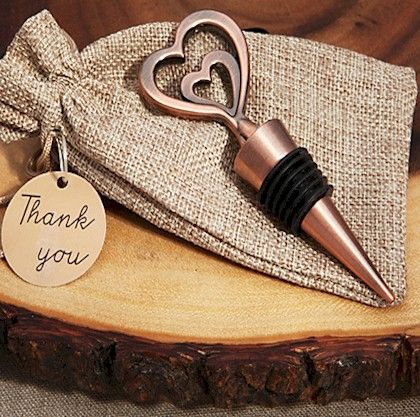 Copper Vintage Two Hearts Become One Bottle Stopper | Wedding Favor Discount