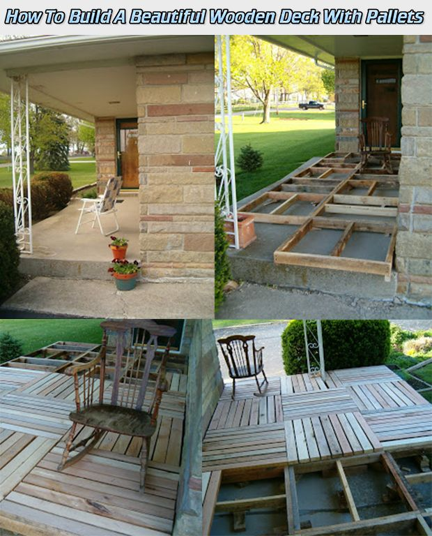 How To Build A Beautiful Wooden Deck With Pallets Read HERE --- > http://www.livinggreenandfrugally.com/how-to-build-a-beautiful-wooden-deck-with-pallets/