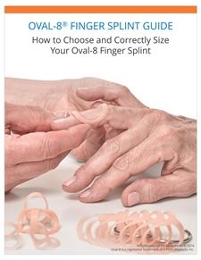 Not sure what size Oval-8 finger splint to purchase?  Check out our e-book for sizing information.