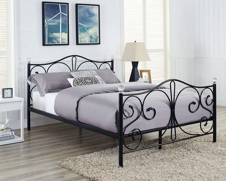 details about metal bed double king size frame black white and with memory foam mattress new - King Size Black Bed Frame