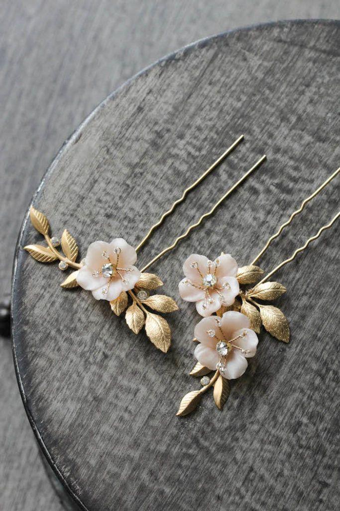 COCO | blush floral hair pins