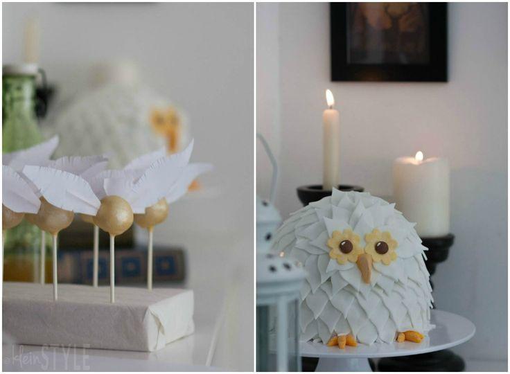 Harry Potter themed kids birthday party  including Hedwig owl cake (vegan) and golden snitch cake pops- In der Welt von Harry Potter : Kindergeburtstag in Hogwarts   http://kleinstyle.com