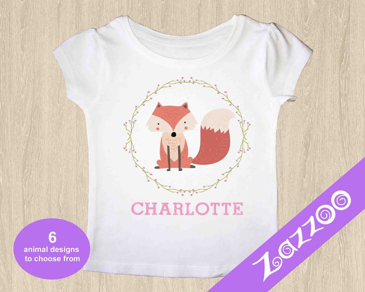 Personalized T-Shirt, Girls T-shirt, Customized T-shirt, Fox Tshirt, Owl Tshirt, Bunny Rabbit T-shirt, Forest Friends Tshirt, Boho T-shirt by Zazzoo on Etsy