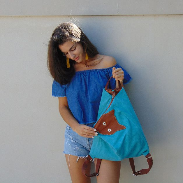 Backpacks – Canvas -leather backpack,MINOUCHE in turquoise – a unique product by iyiamihandbags on DaWanda