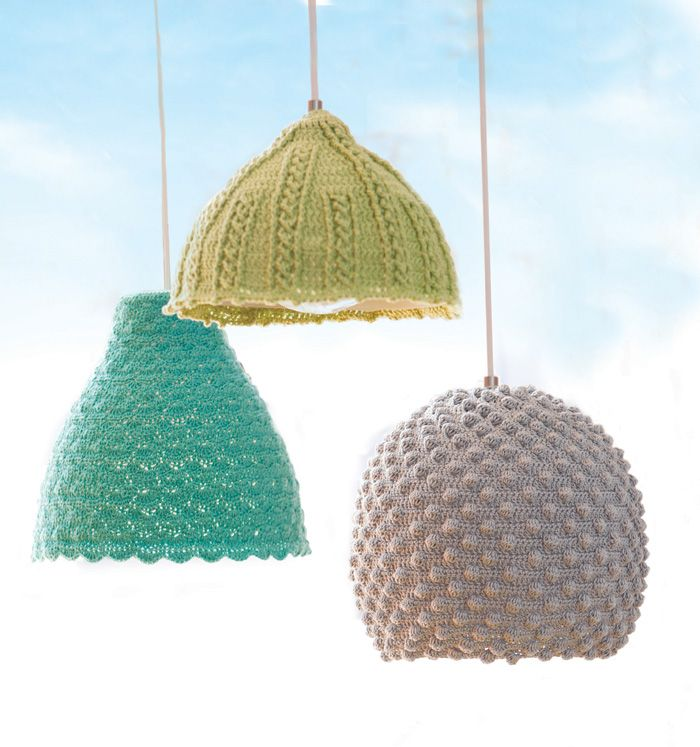 IKEA Hackers: Crochet Seashell Lamps - I especially love the light purple one but I would having to dust it regularly!