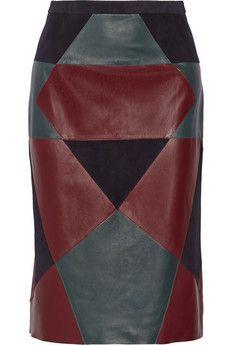 Derek Lam Paneled nubuck and leather pencil skirt   NET-A-PORTER